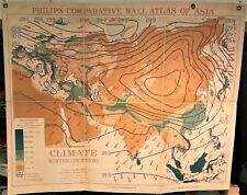 Original 1921 Philips' Comparative WALL Atlas ~ ASIA Winter CLIMATE ~ Rare Map
