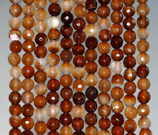 6MM  AGATE GEMSTONE BROWN FACETED ROUND LOOSE BEADS 14.5""