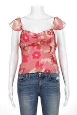 BCBG MAXAZRIA Top Size 4 Pink 100% Silk Cami Blouse Floral Tan