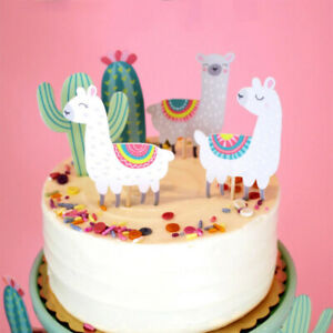 5pc Llama Cactus Cupcake Toppers Birthday Party