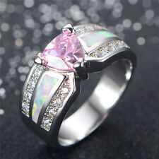 Silver Plated Statement Ladies Simulated Pink Sapphire Opal Ring L M N P R T