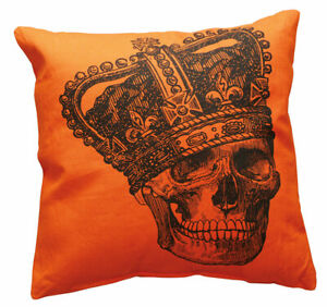 """Halloween Throw Pillow Vintage Skull with Crown Primitives by Kathy 15 x 15"""""""