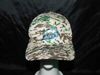 Alaska Aces Hockey Hat Brown Camo Camouflage Embroidered Logo Strap Back AK