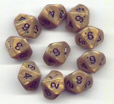 NEW RPG Dice Set of 10D10 - Koplow Olympic Pearl Gold