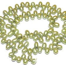 """NP210 Khaki Green Top-Drilled Rice 8mm Cultured Freshwater Pearl Beads 15"""""""