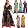 Plus Size Women's Floral Long Maxi Dress Split Cocktail Party Beach Sundress