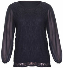 Camisas y tops de mujer blusa de color principal negro de chifón