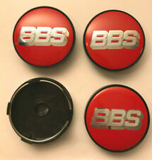 4 x BBS Sport 60mm Wheel Centre Caps Red/Silver Emblems Center Caps Base (Black)