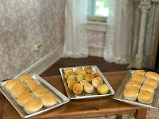 Vintage Miniature Dollhouse Set Baking Trays with Sculpted Baked Bread Rolls