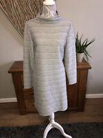 Per Una M&S Ladies Grey Textured Longsleeve Dress Size 16