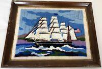 "Vintage Handmade 18"" Crewel Needlepoint American Colonial Ship Brig Galleon Art"