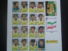Panini WC France 1998 98 Iran stickers copy set Rare
