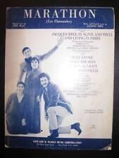 Marathon Les Flamandes Sheet Music Vintage 1968 Jacques Brel Is Living Paris (O)