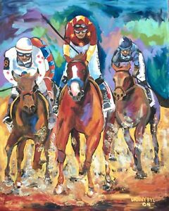 Triple Crown Justify Belmont Stakes Original Art Horse PAINTING DAN BYL 4x5 ft