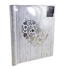 "Photo Album- Wedding- White/Silver ""Floral Heart & Birds"" Design- Self Adhesive"