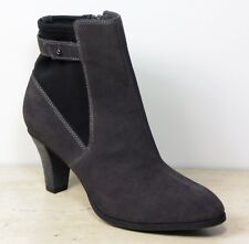 M&S Real SUEDE LEATHER High Heel ANKLE BOOTS with Insolia ~ Size 7 ~ GREY