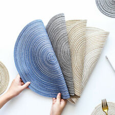 New 4pcs Round Placemats Ramie Cotton Hot Pads Heat-Resistant Kitchen Table Mats