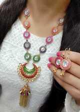 work Diamond Studded For Women's Wear Long Necklace & Earrings Colorful Meena