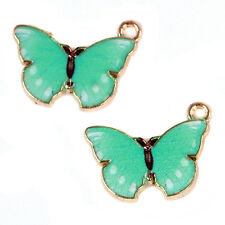 100pcs Lake Blue&Gold Plated Butterfly Alloy Pendant Jewellery Charms Crafts BS