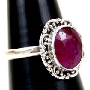 925 Sterling Fine Silver Ruby Gemstone Ring Sz C-Z Women Fest Gift RSP-1040