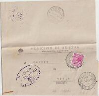 ITALIA 1954 13L SIRACUSANA ISOLATO SU LETTERA TRA SINDACI DA GENOVA PER USCIO