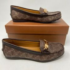 Coach Womens Olive Loafer Shoes Brown Signature Embossed Moc Toe Slip Ons 7 New