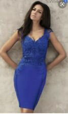 Lipsy Michelle Keegan Dress Size 8 in Blue Appliqué Lace Bodycon