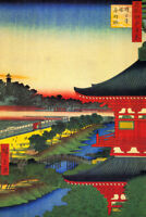 Utagawa Hiroshige Zojoji Pagoda Akabane Japanese Woodblock Print Poster 12x18