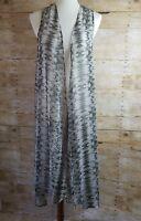 Band of Gypsies Womens Sleeveless Duster Vest Sheer Tie Dye Black Boho Size S M