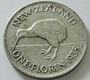 New Zealand Silver Florin 1935, KM 4