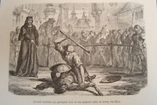 Antique print Mons Bergen battle between baptised jew and old man