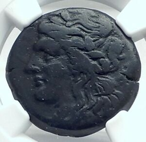 TAUROMENION SICILY 207BC Authentic Ancient Greek Coin APOLLO TRIPOD NGC i77648