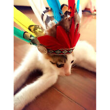 Feathered Indian Hat Fancy Dress Halloween Pet Dog Cat Costume Accessory Decor