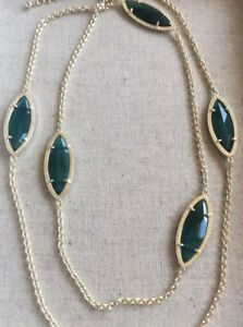 New Kendra Scott Tory Marquis Station Necklace Gold & Cats Eye Emerald Green