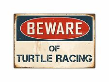 "Beware Of Turtle Racing 8ï¾"" x 12ï¾"" Vintage Aluminum Retro Metal Sign VS425"