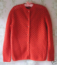 Vtg WW2 30s40s50s60s ART DECO Polka Dot Crochet Lace Hand Made Knit Red Cardigan