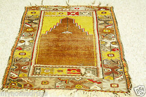 Rare Pre-1900s Antique 2'5''x3'10'' Turkish Prayer Wool Pile Rug for Collector
