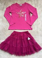 Naartjie Tulle Tutu Skirt & Long-Sleeved Shirt Outfit, Size 6-7, Pink, Star, New