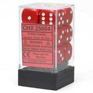 Chessex Opaque Red with White 12 Dice Set - 6 Sided - 16mm d6 Dice Block