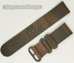 JaysAndKays® Vintage Style Leather 2-Piece Watch Strap Band 3-Ring Black PVD
