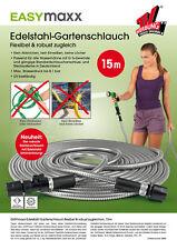 EASYmaxx Gartenschlauch 15 m Edelstahl-Ummantelung flexibel unknickbar leicht
