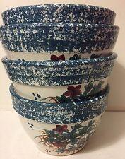 NICHOLS POTTERY Seagrove NC Set of 4 Nesting Serving Bowls Blue Spatter Floral