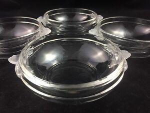 "Set of 4 Mikasa Crystal SATIN ROSE 6"" Desert Bowls w/ Handles"