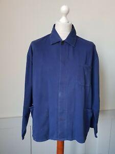 VINTAGE Worker CHORE Blue Work Shirt Jacket Hobo Worn Faded SIZE 2XL *TS31*