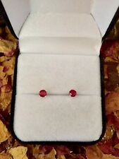 Lovely natural Blood Red Ruby 4mm sterling silver claw stud earrings 🌹