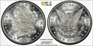 1885-CC $1 MORGAN SILVER DOLLAR, PCGS MS 63 GOLD SHIELD, SKU-2917