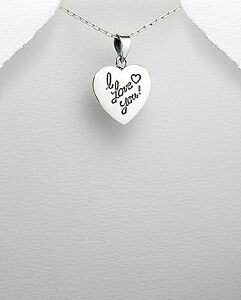 """925 sterling silver heart pendant w/ message """"i love you"""""""