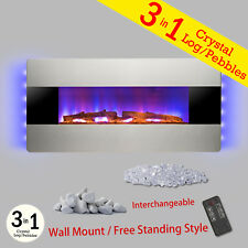 3-in-1 Electric Fireplace Wall Mount Freestanding Black Stainless Steel Heater