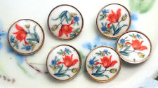 Vintage Glass buttons Japan Japanese Button Flowers Limoges Floral Red Blue #924
