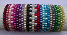 Elastic Glass Pearl Bead Bracelets - 24 Colours NEW